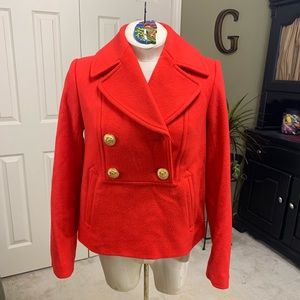 J. Crew Red 100% Wool Popover Pea Coat Size 0